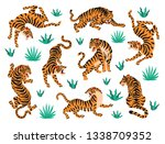 Vector Set Of Tigers And...