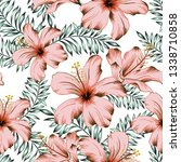 tropical pink hibiscus flowers  ... | Shutterstock .eps vector #1338710858