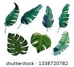 tropical watercolor leaves set. ... | Shutterstock . vector #1338720782