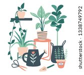 gardening print or card. set of ... | Shutterstock .eps vector #1338749792