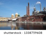 Varkaus, Finland. Clock Tower of  the pulp mill factory  in Old Varkaus area. .