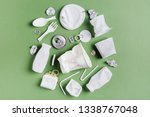 Small photo of Plastic waste collection on green background. Concept of Recycling plastic and ecology. Flat lay, top view