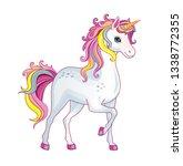 vector cartoon cute pony with... | Shutterstock .eps vector #1338772355