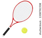 tennis racket with yellow ball. ... | Shutterstock .eps vector #1338781538