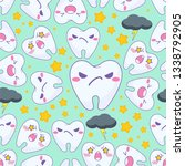 kawaii vector seamless pattern. ... | Shutterstock .eps vector #1338792905