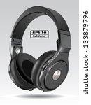 realistic headphone illustration | Shutterstock .eps vector #133879796