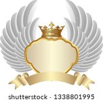 golden frame with crown and... | Shutterstock .eps vector #1338801995