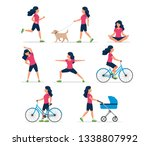happy woman doing different... | Shutterstock .eps vector #1338807992