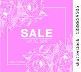 sketch peonies sale post... | Shutterstock .eps vector #1338829505