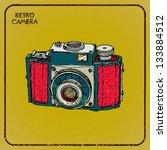 vintage camera  hand drawn ... | Shutterstock .eps vector #133884512