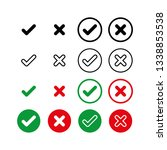 check mark icon set. vector... | Shutterstock .eps vector #1338853538
