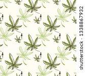 hemp oil drop and cannabis... | Shutterstock .eps vector #1338867932