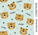 funny tigers seamlesss pattern  ... | Shutterstock .eps vector #1338879698