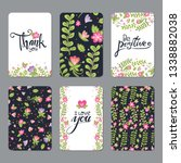 set of floral cards with... | Shutterstock .eps vector #1338882038