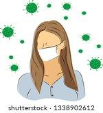 viruses around the girl in the ...   Shutterstock .eps vector #1338902612