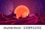 landscape with sunset behind... | Shutterstock .eps vector #1338912332