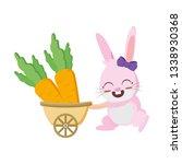 cute rabbit carrots in stroller | Shutterstock .eps vector #1338930368