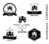 vintage sea crab badge set | Shutterstock . vector #133893062