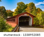 The Henry covered bridge over the Walloomsac river near Bennington, Vermont