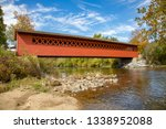 The Henry covered bridge over the Walloomsac river near lBennington, Vermont