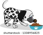 cartoon dalmatian dog eating... | Shutterstock .eps vector #1338956825