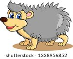 cartoon hedgehog smiling on... | Shutterstock .eps vector #1338956852
