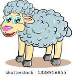 cartoon curly sheep smiling on... | Shutterstock .eps vector #1338956855
