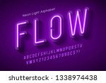neon light alphabet ... | Shutterstock .eps vector #1338974438