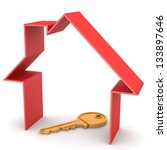 red house and key  on a white... | Shutterstock . vector #133897646