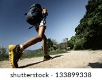hiker with backpack walking on... | Shutterstock . vector #133899338