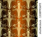 gold line art tracery floral... | Shutterstock .eps vector #1338993695