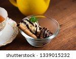 vanilla and chocolate ice cream ... | Shutterstock . vector #1339015232