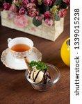 vanilla and chocolate ice cream ... | Shutterstock . vector #1339015238
