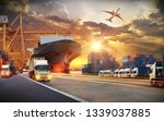 container truck in ship port... | Shutterstock . vector #1339037885