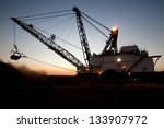silhouette of drag line working ... | Shutterstock . vector #133907972