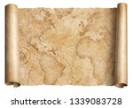 vintage world map scroll... | Shutterstock . vector #1339083728
