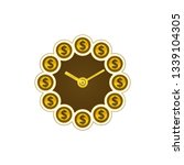 dollar coins and clock. time... | Shutterstock .eps vector #1339104305