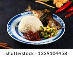 fried mackerel with chili paste ... | Shutterstock . vector #1339104458