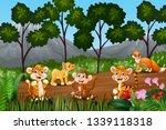 group of wild animals gathering ... | Shutterstock . vector #1339118318