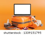 laptop on suitcase with... | Shutterstock . vector #1339151795