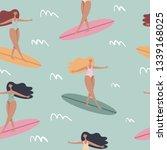 surfing girls on the surf... | Shutterstock .eps vector #1339168025