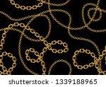 seamless golden chain pattern | Shutterstock .eps vector #1339188965