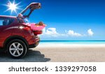 summer car on beach and sea... | Shutterstock . vector #1339297058