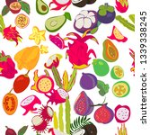 exotic fruits pattern. all...   Shutterstock .eps vector #1339338245