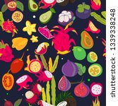 exotic fruits pattern. all...   Shutterstock .eps vector #1339338248