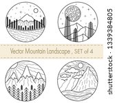 set of 4 hand drawn black and...   Shutterstock .eps vector #1339384805