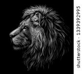lion. black and white  graphic... | Shutterstock .eps vector #1339392995