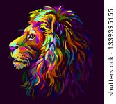 Lion. Abstract  Multi Colore...