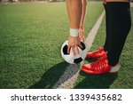 man stand ar white line painted ... | Shutterstock . vector #1339435682