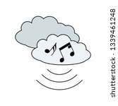 music cloud icon. flat color...